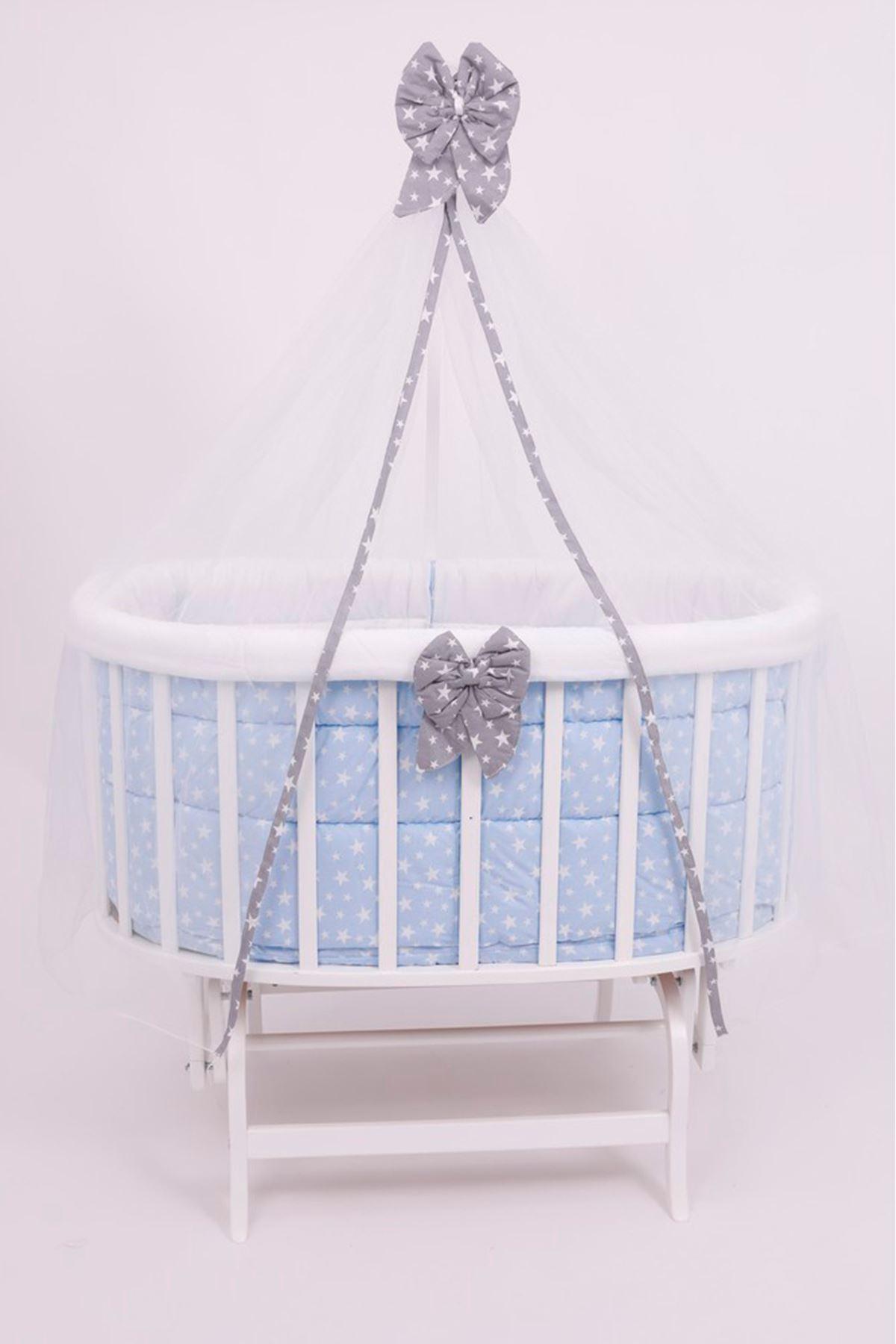 """Amedan Beyaz Sepet Beşik """"Mavi Yıldızlı Uyku Seti"""" ile"""