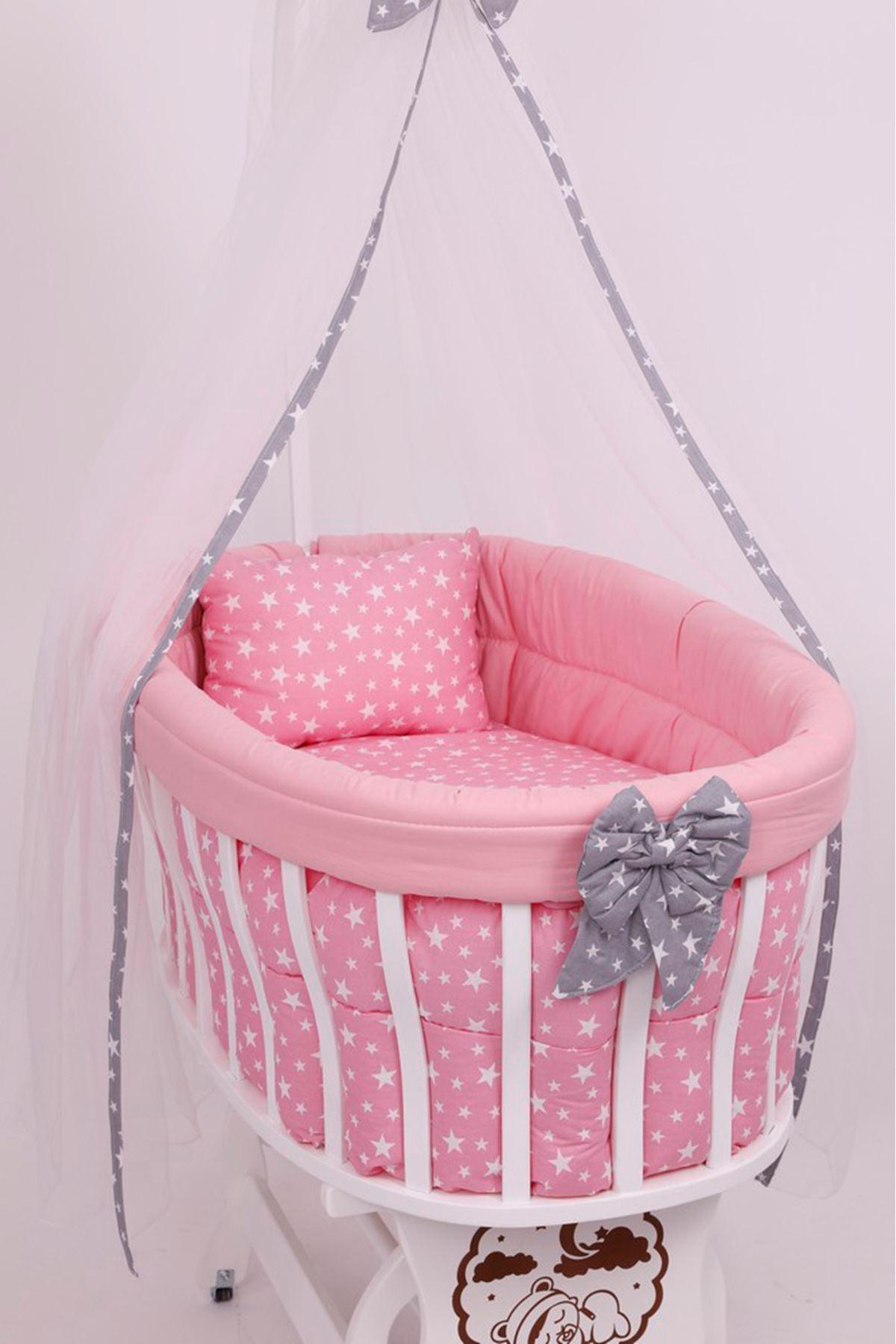 Sepet Beşik İçin Pembe Gri Yildizli Kıvırmalı Bebek Uyku Seti