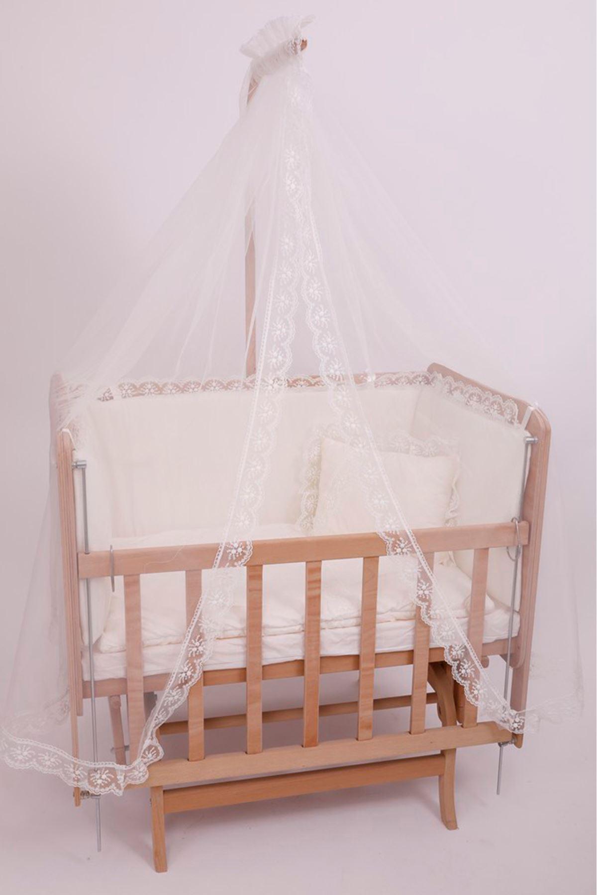 Krem Fransız Dantel Uyku Setli Asansörlü Doğal Anne yanı Beşik