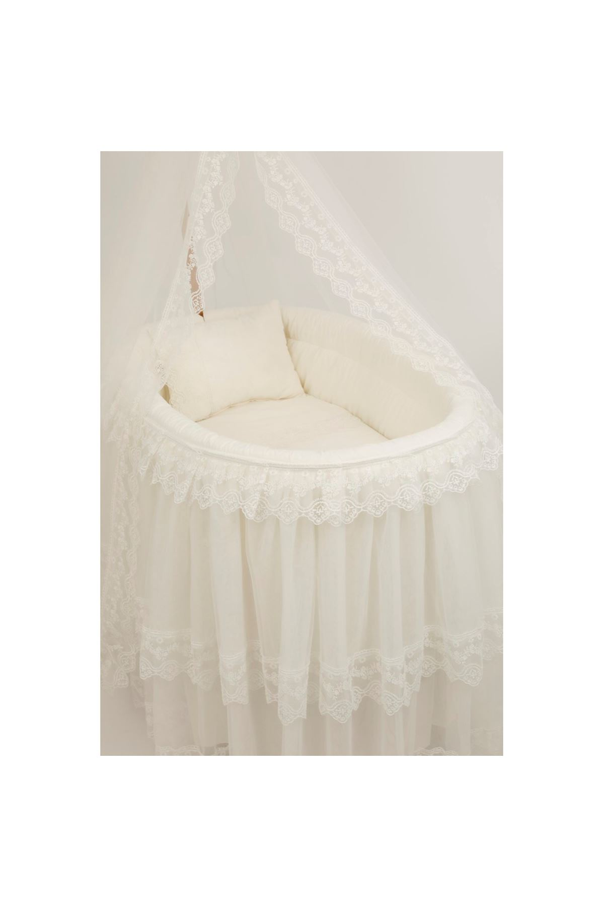 Basket Cradle with Tulle Skirt - Wood