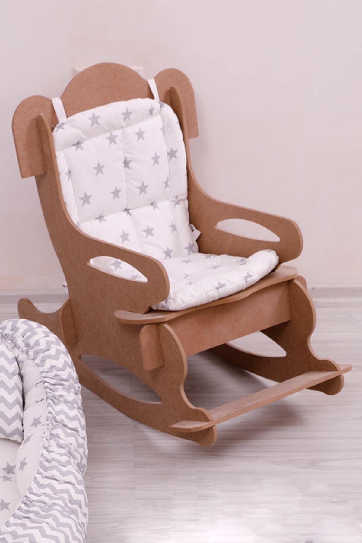 """Çocuk Sandalyesi """"Beyaz-Gri Minder"""" İle"""