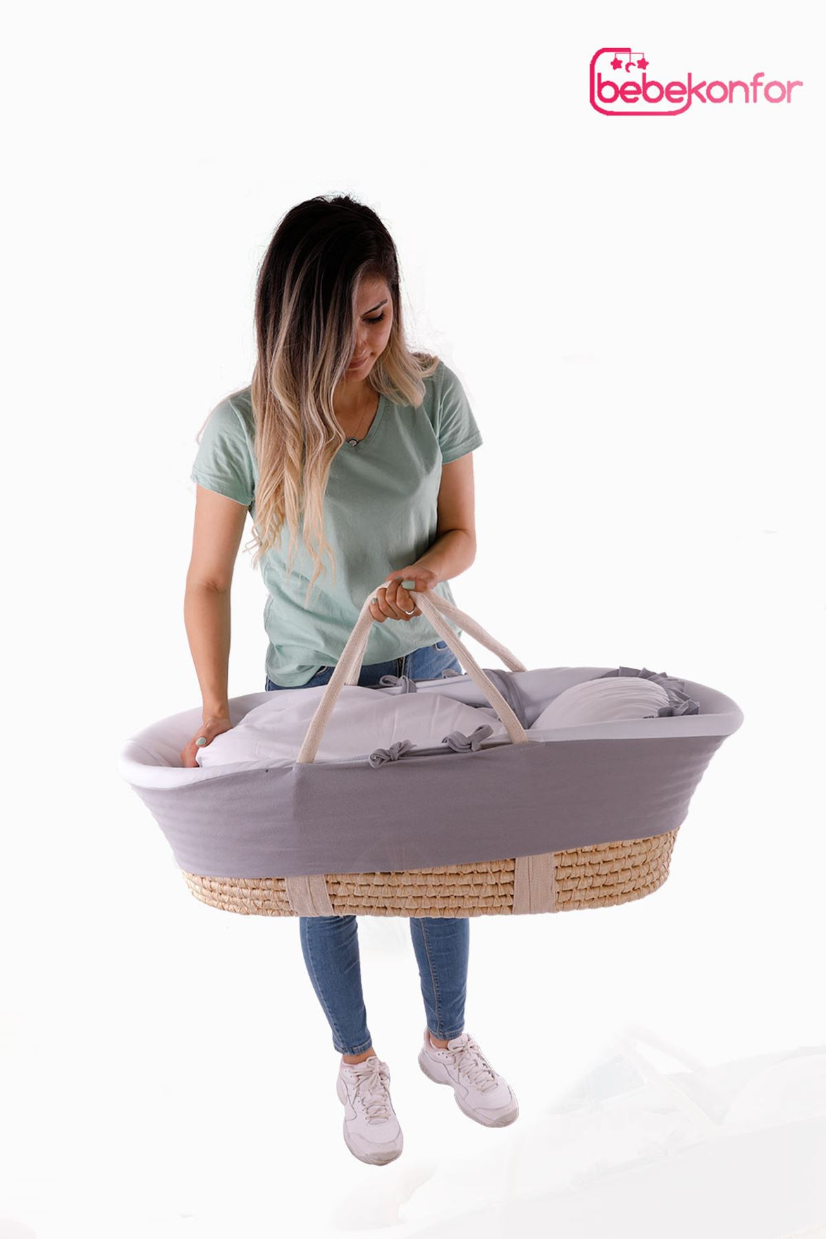 "Wicker Baby Basket ""Gray"""