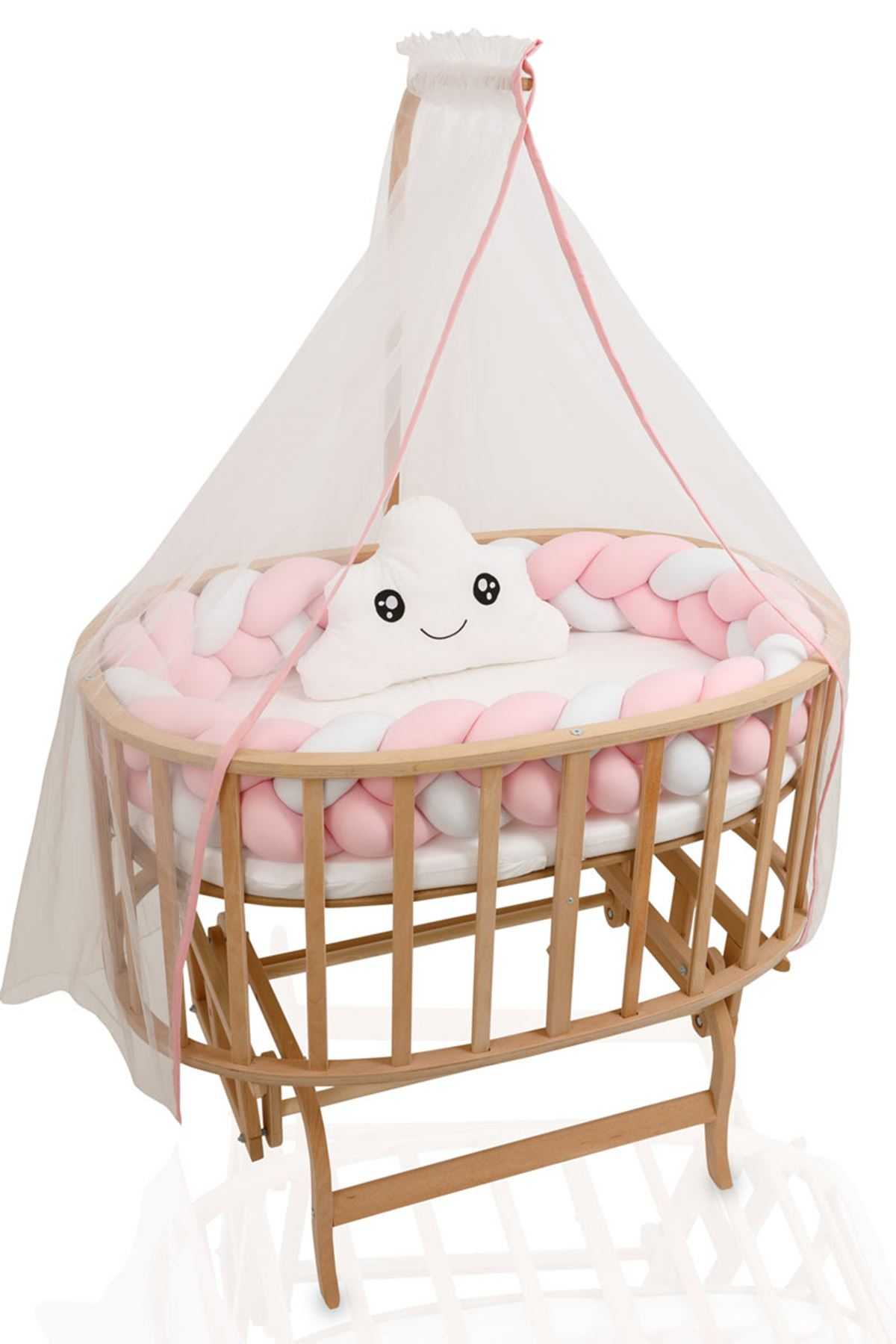 Natural Color Basket Cradle With Pink Knit Side Protection