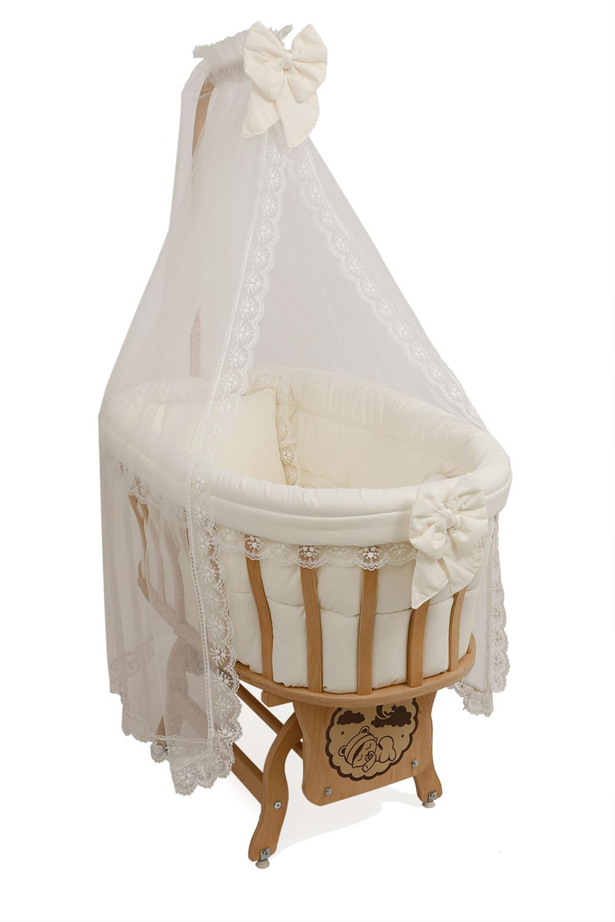 Wooden Baby Crib - Cream French Lacy Sleeping Set
