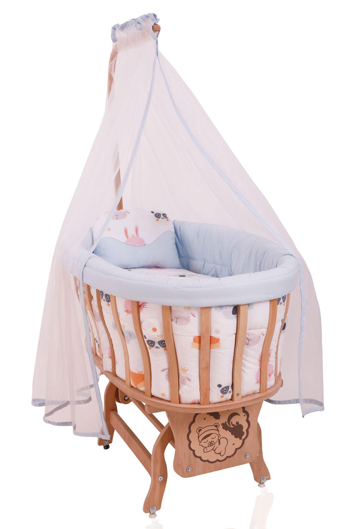 Wooden Baby Crib- Yellow Star Sleeping Set