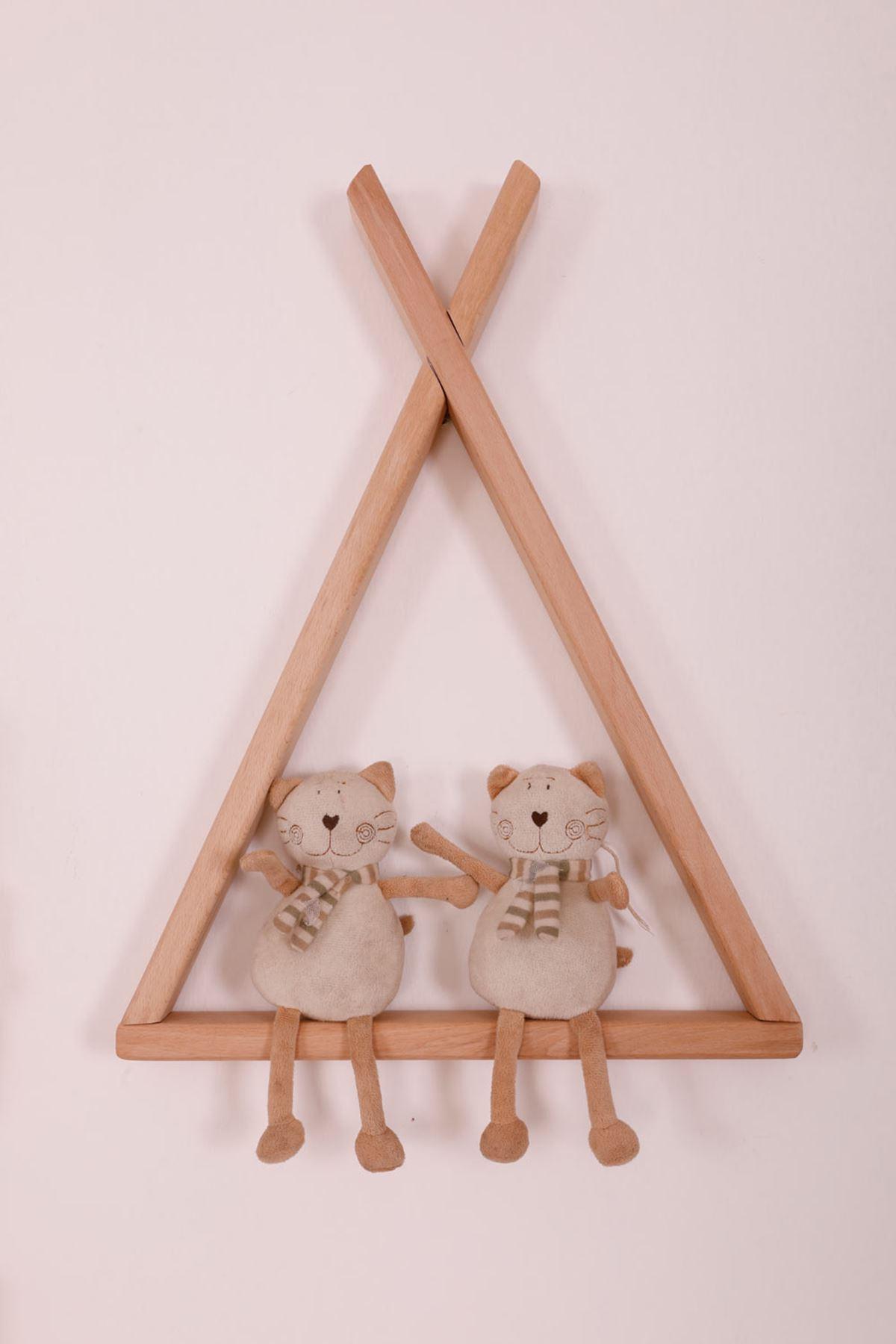 "Montessori Ahşap Duvar Rafı ""Üçgen"""