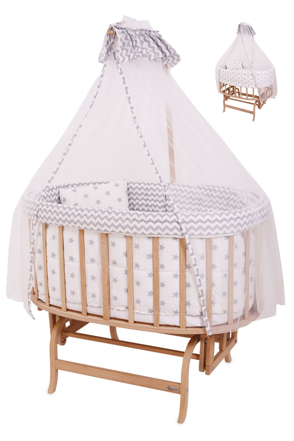Wooden Baby Cot with Gray Star Sleeping Set