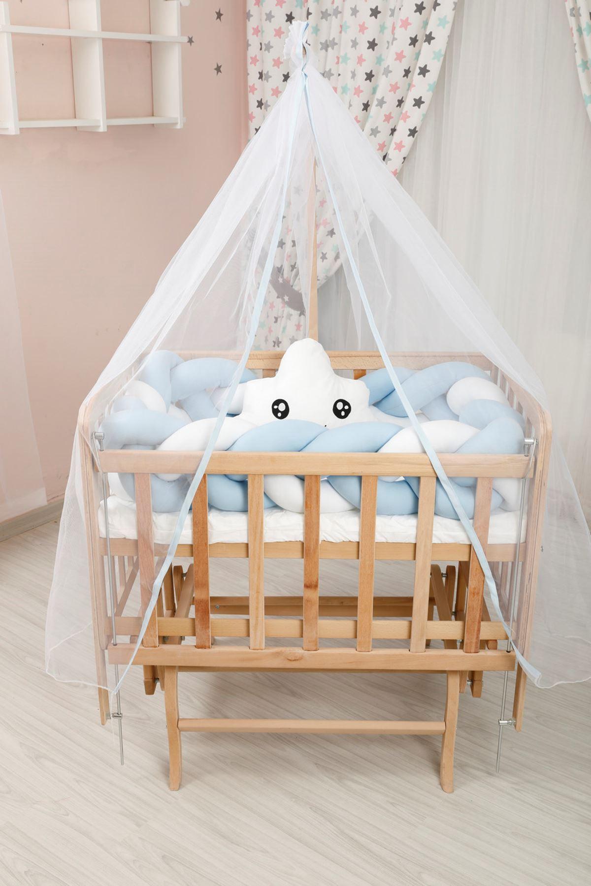 سرير خشب مستطيل صغير قماش نجم فضي