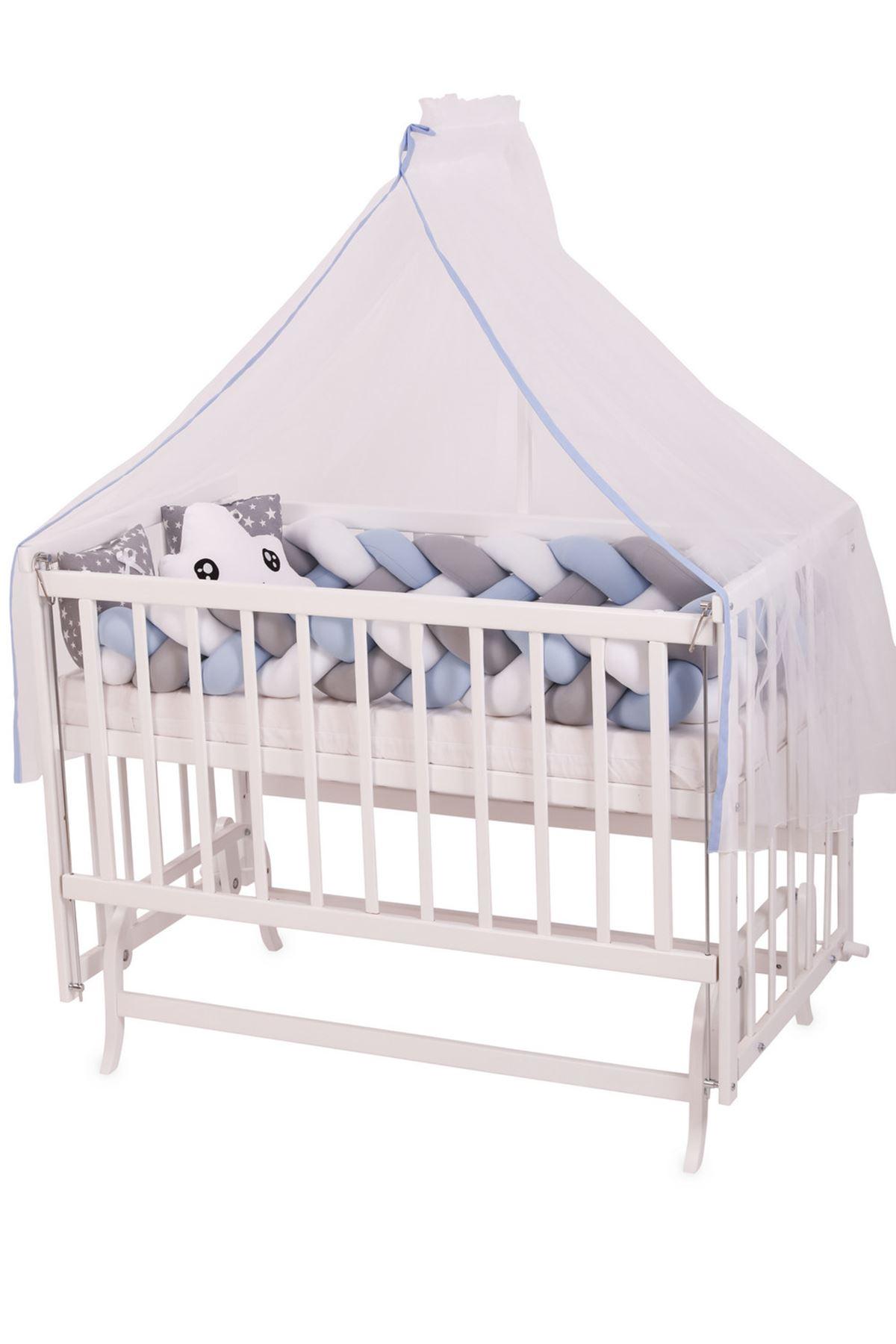 سرير أبيض مستطيل 5 سنوات جدله أزرق دبل