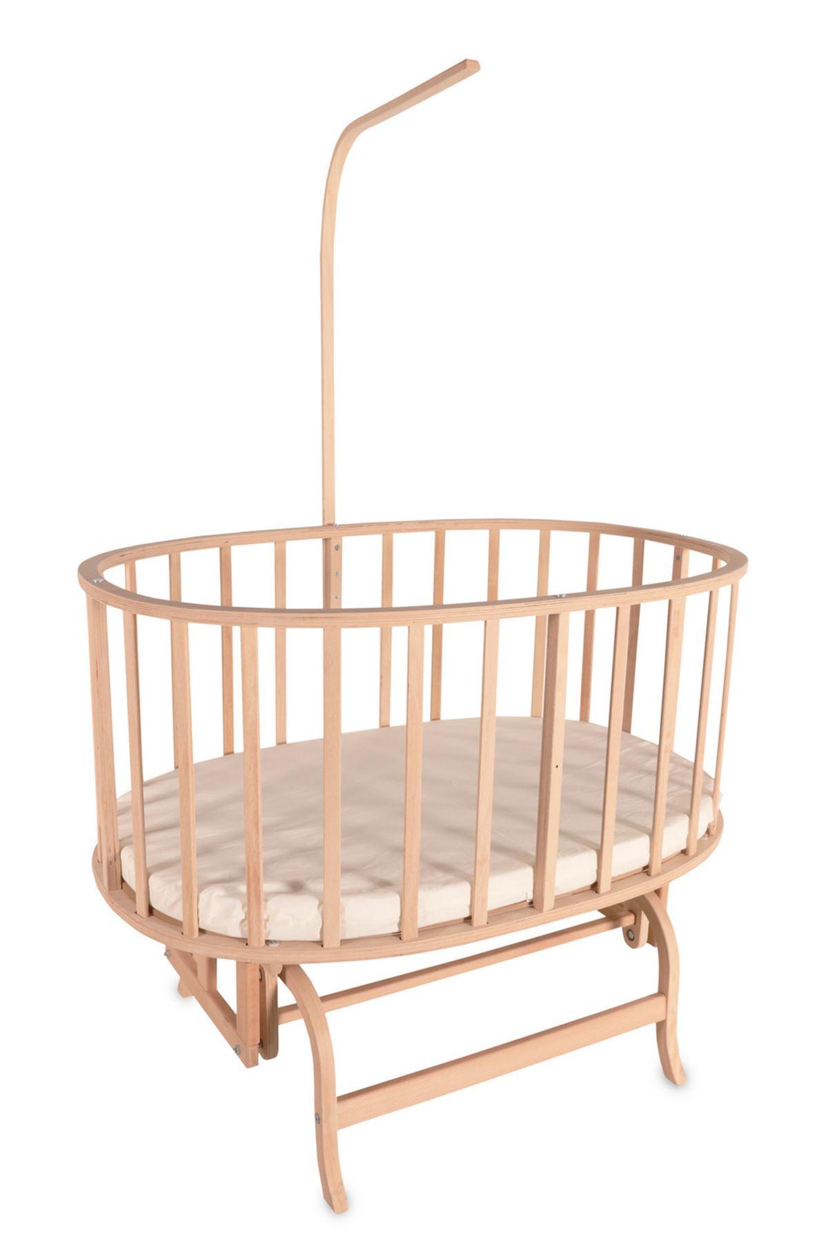 Natural Color Basket Cradle With Blue Knit Side Protection