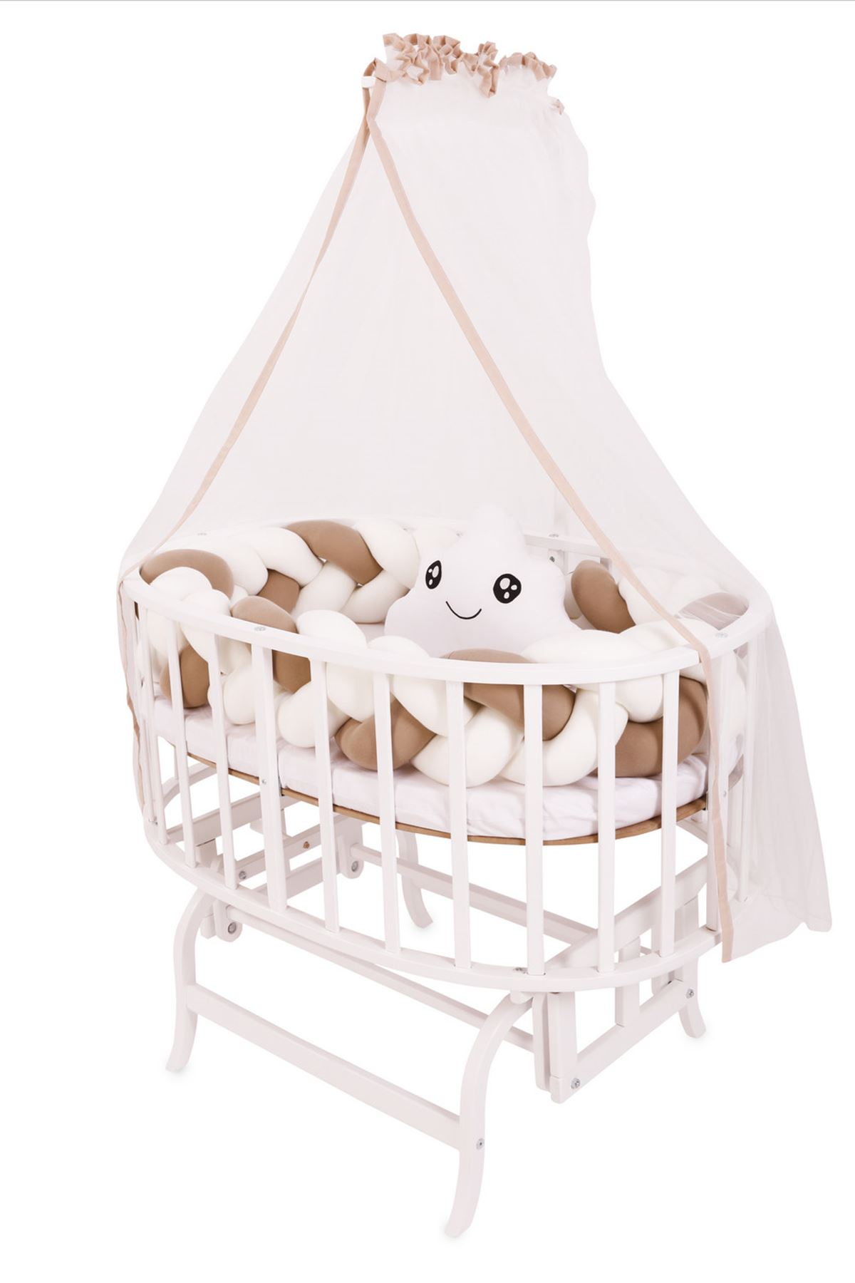 White Basket Cradle with Blue Weave Side Protection