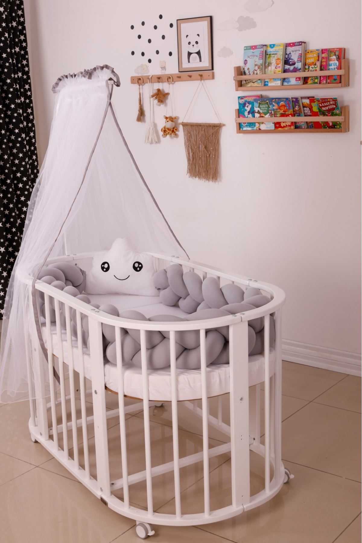 Cream Lacy Graded Natural Bed Baby Cot