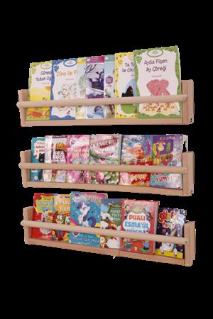 Montessori Ahşap Duvar Kitaplık - 3 Raf